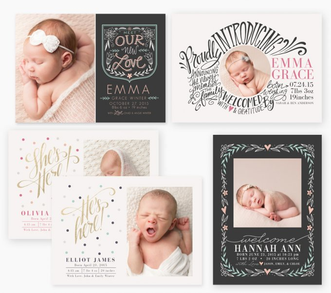 Botanical Birth Announcement Templates by Jamie Schultz Designs