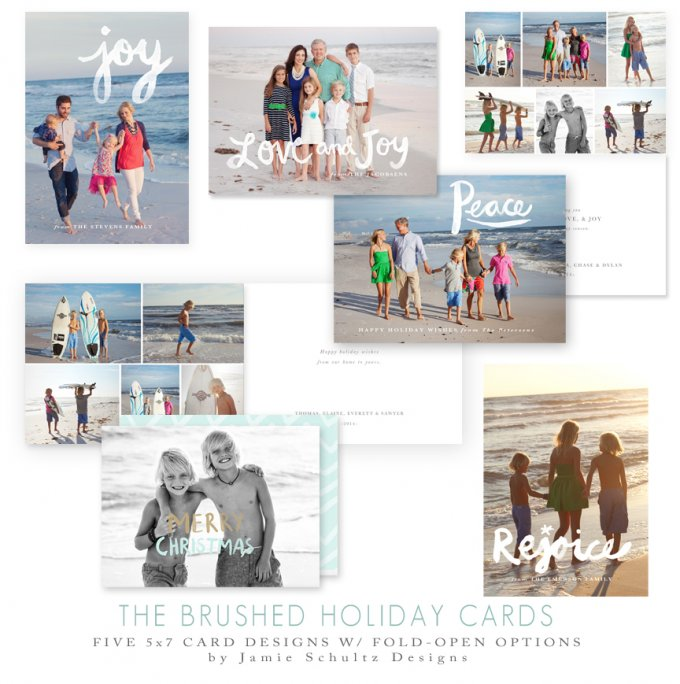 Brushed Holiday Cards by Jamie Schultz Designs