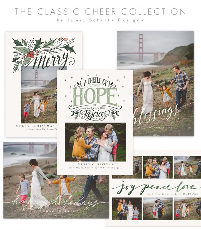 Classic Cheer Holiday Card Templates by Jamie Schultz Designs