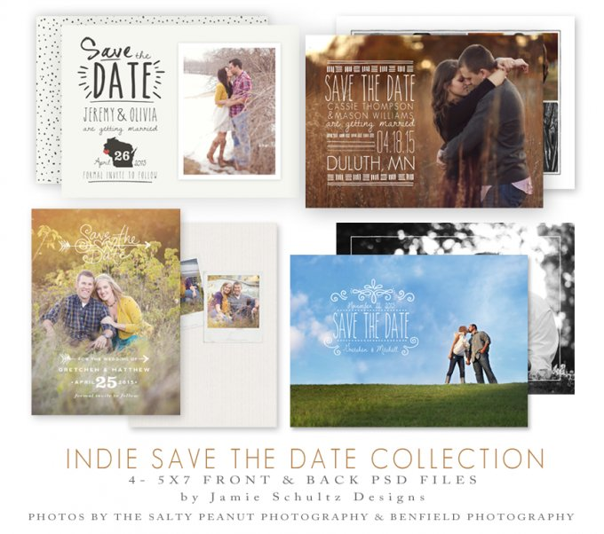 Indie Save the Date Templates by Jamie Schultz Designs