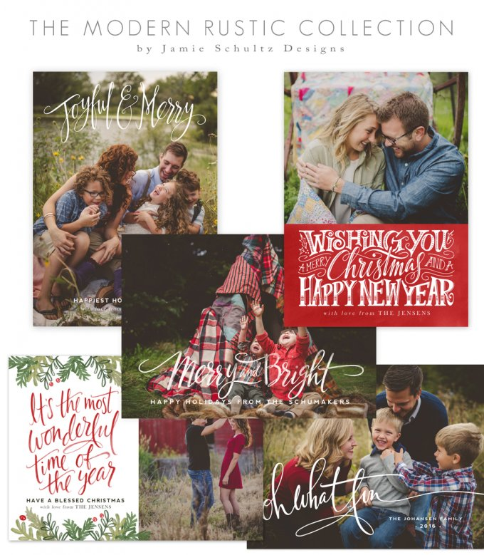 Modern Rustic Holiday Card Templates by Jamie Schultz Designs