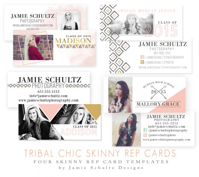 Tribal Chic Skinny Rep Card Templates by Jamie Schultz Designs