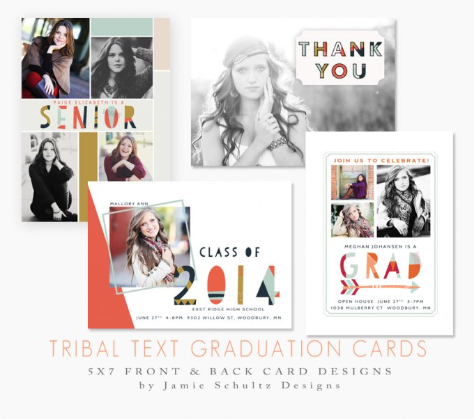 Tribal Text Graduation Card Templates by Jamie Schultz Designs