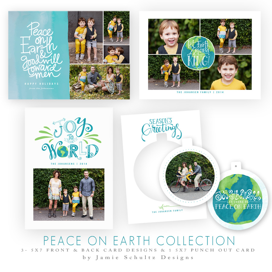 Peace on Earth Holiday Card Templates by Jamie Schultz Designs