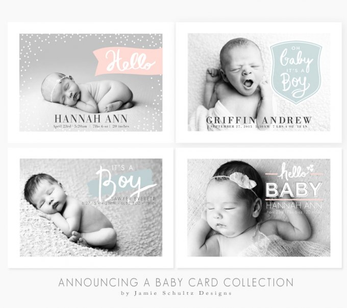 Birth Announcement Templates by Jamie Schultz Designs