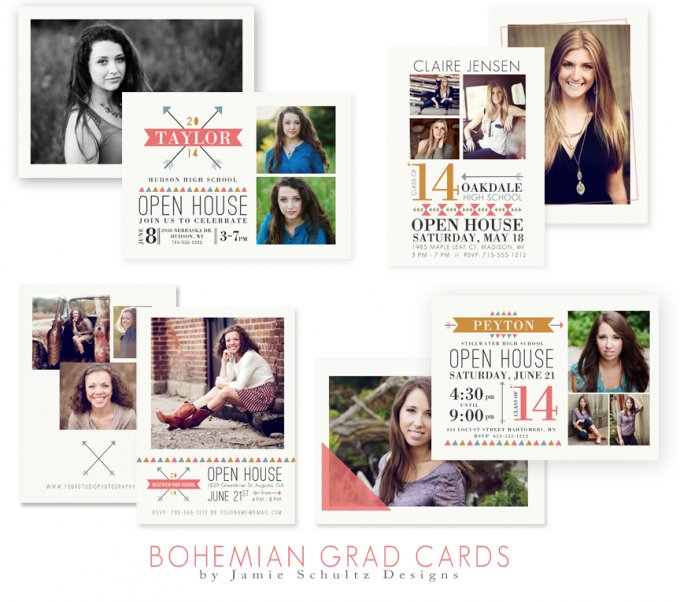 Bohemian Grad Card Templates by Jamie Schultz Designs