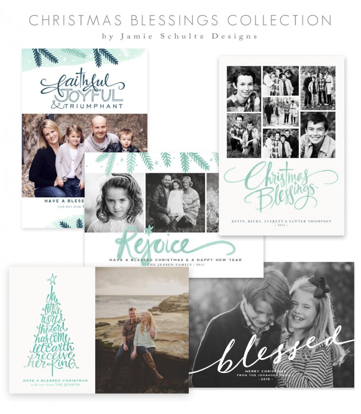 Christmas Blessings Card Templates by Jamie Schultz Designs