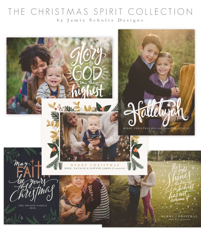 Christmas Spirit Card Templates by Jamie Schultz Designs