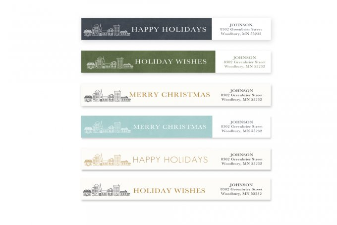 Cityscape Holiday Card Templates and Address Labels by Jamie Schultz Designs