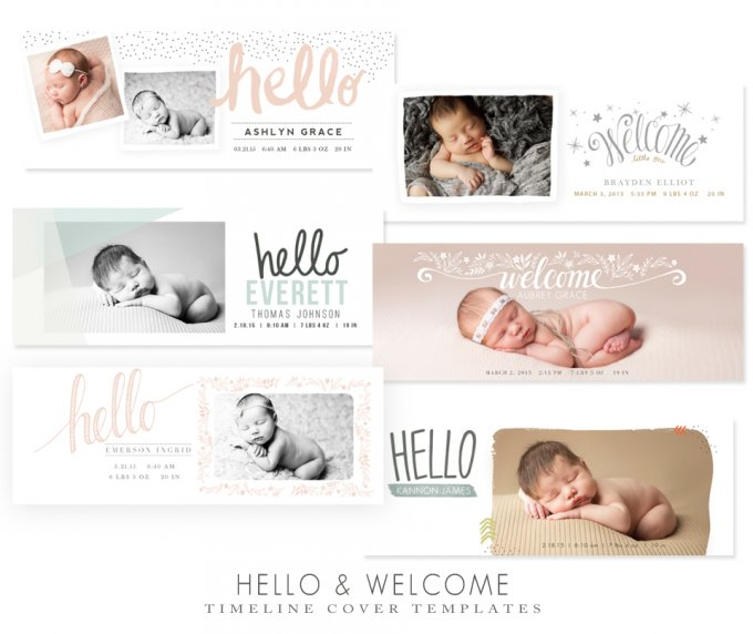 Hello and Welcome Newborn Timeline Templates by Jamie Schultz Designs