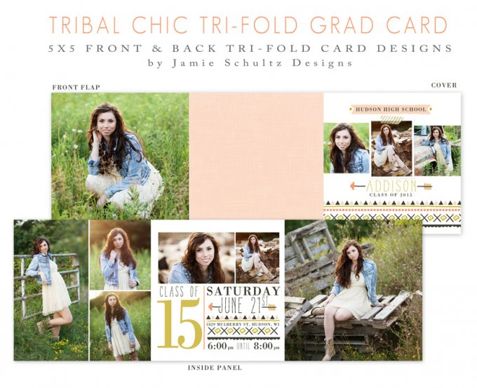 Tribal Chic Trifold Card Template by Jamie Schultz Designs