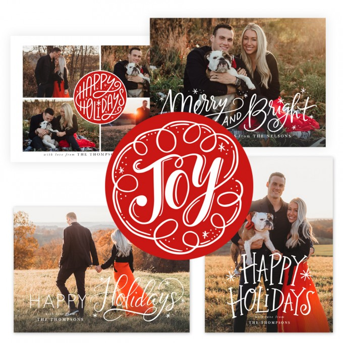 Merry All The Way Christmas Card Templates by Jamie Schultz Designs