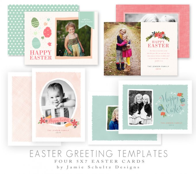 Easter Greeting Card Templates by Jamie Schultz Designs