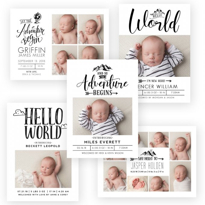 Greatest Adventure Birth Announcement Templates by Jamie Schultz Designs