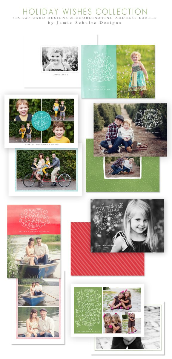 Holiday Wishes Christmas Card Templates by Jamie Schultz Designs