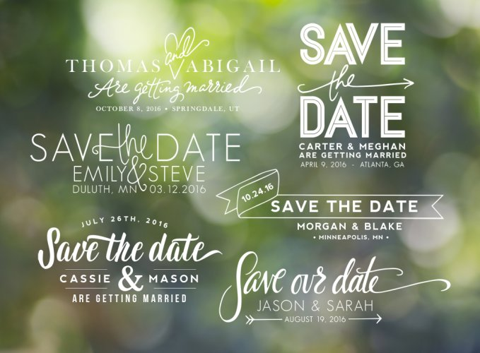 Hand Lettered Save the Date Overlays by Jamie Schultz Designs