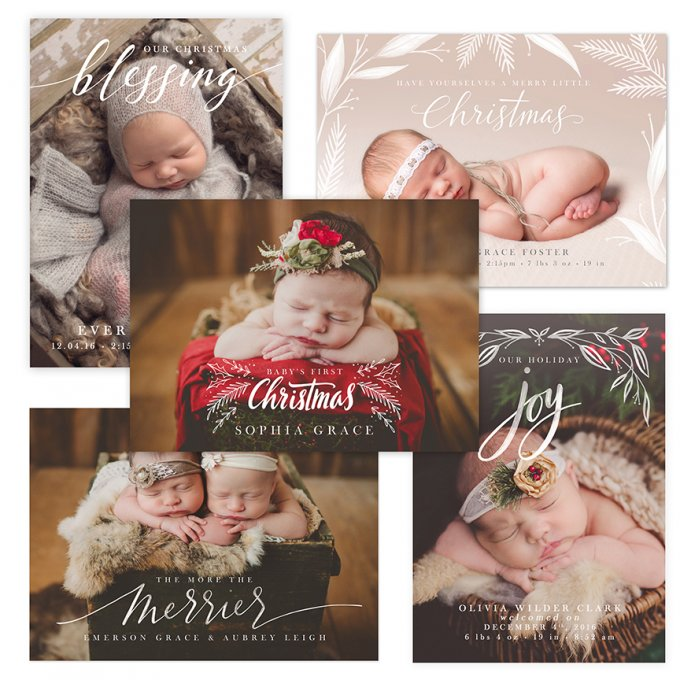 Holiday Birth Announcement Templates by Jamie Schultz Designs