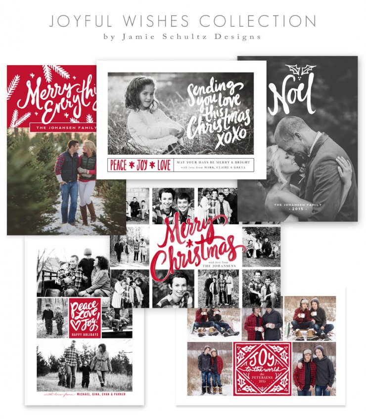 Joyful Wishes Christmas Card Templates by Jamie Schultz Designs