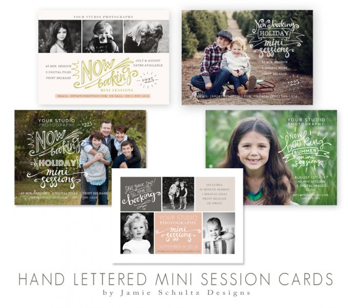 Hand Lettered Mini Session Card Templates by Jamie Schultz Designs