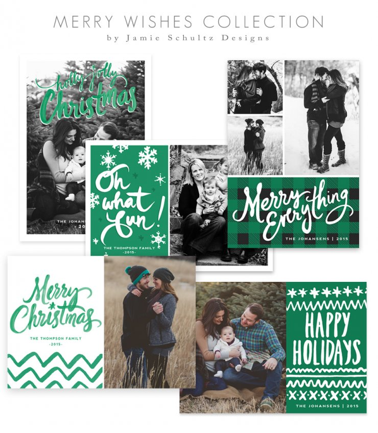 Merry Wishes Christmas Card Templates by Jamie Schultz Designs