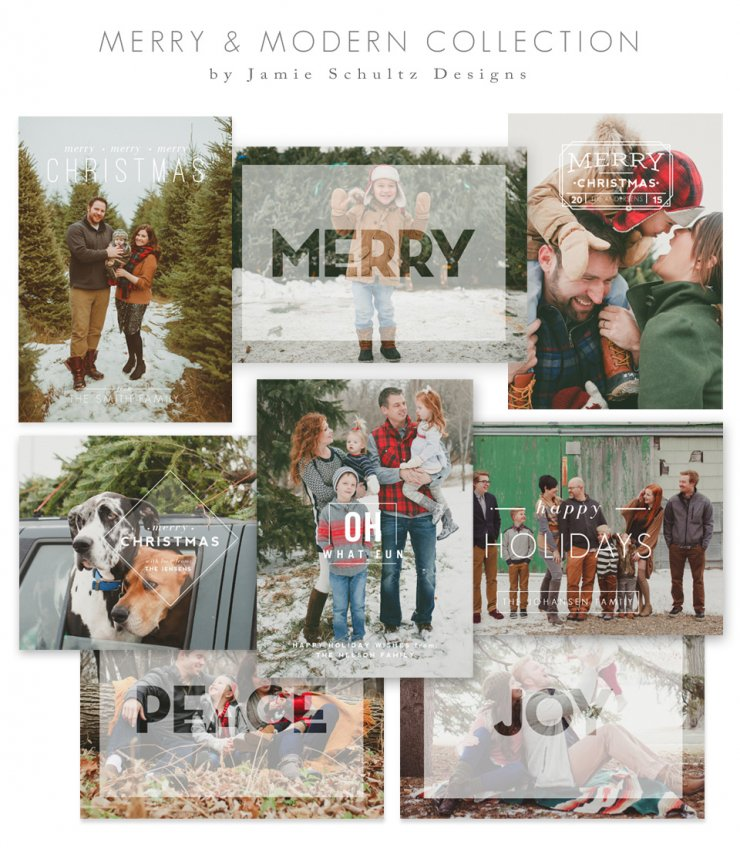 Merry and Modern Christmas Card Templates by Jamie Schultz Designs