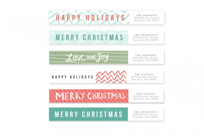 Modern Brush Holiday Card Templates by Jamie Schultz Designs