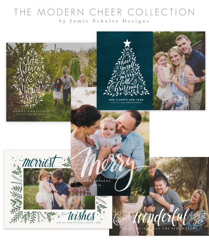 Modern Cheer Christmas Card Templates by Jamie Schultz Designs