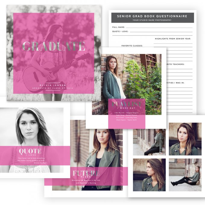 Modern Grad Book Template by Jamie Schultz Designs