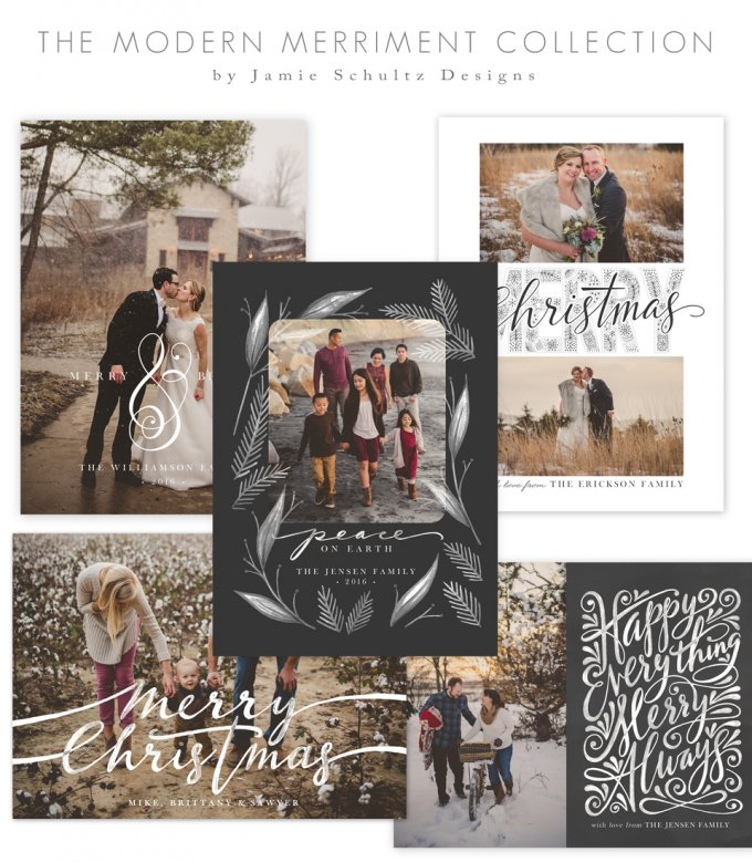 Modern Merriment Christmas Card Templates by Jamie Schultz Designs