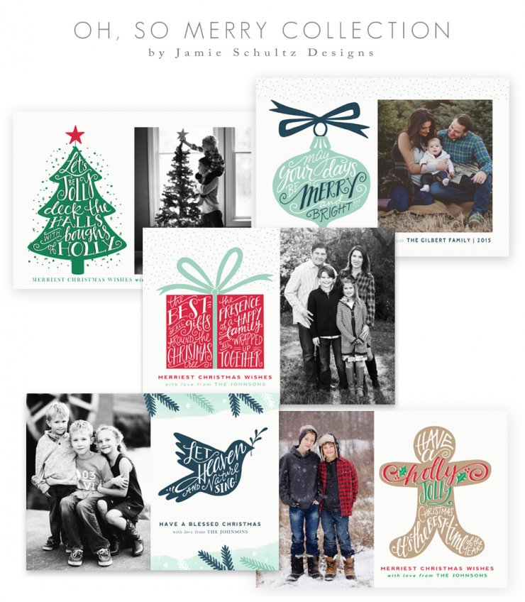 Oh So Merry Christmas Card Templates by Jamie Schultz Designs
