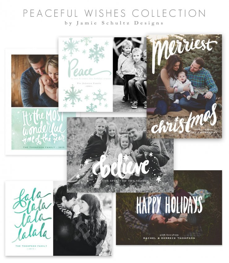 Peaceful Wishes Christmas Card Templates by Jamie Schultz Designs