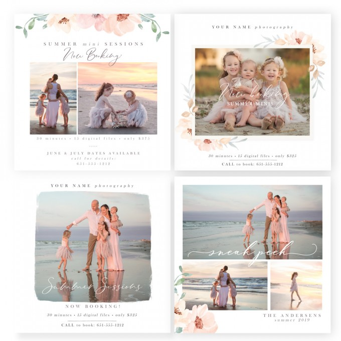 Summer Bloom Photographer Marketing Board Templates by Jamie Schultz Designs