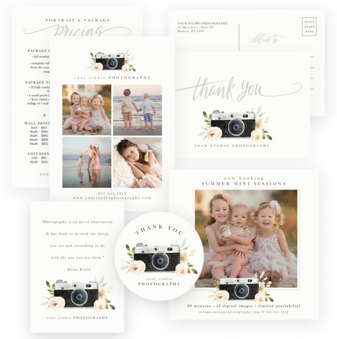 Watercolor Camera Business Templates by Jamie Schultz Designs
