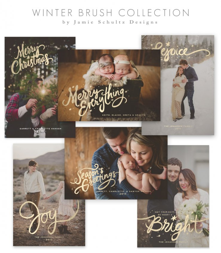 Winter Brush Holiday Card Templates by Jamie Schultz Designs