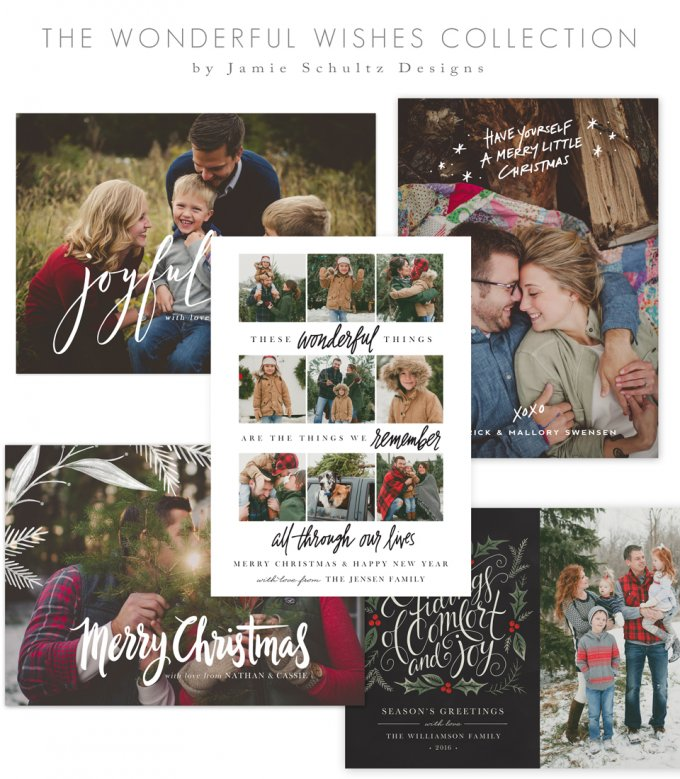 Wonderful Wishes Christmas Card Templates by Jamie Schultz Designs