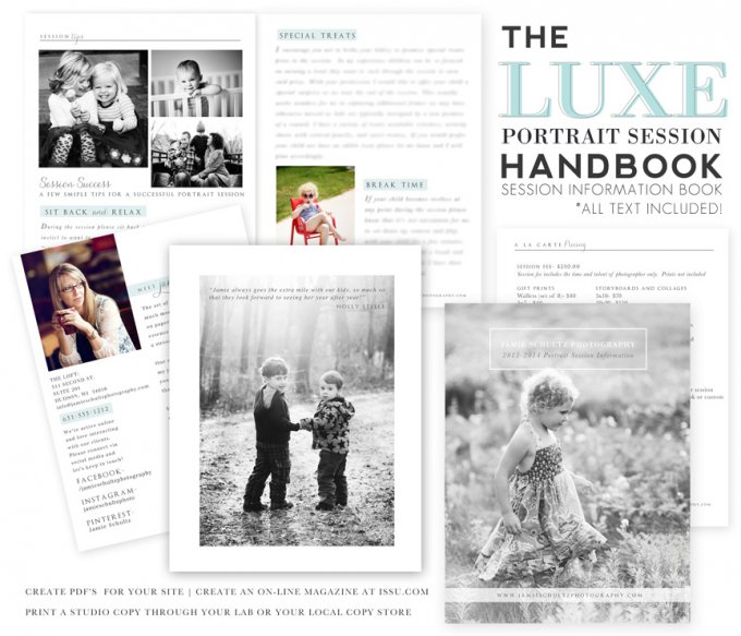 Luxe Portrait Session Handbook Template by Jamie Schultz Designs
