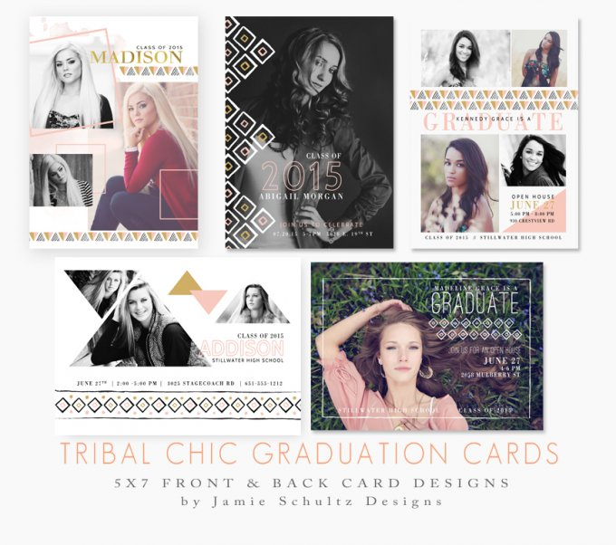 Tribal Chic Grad Card Templates by Jamie Schultz Designs