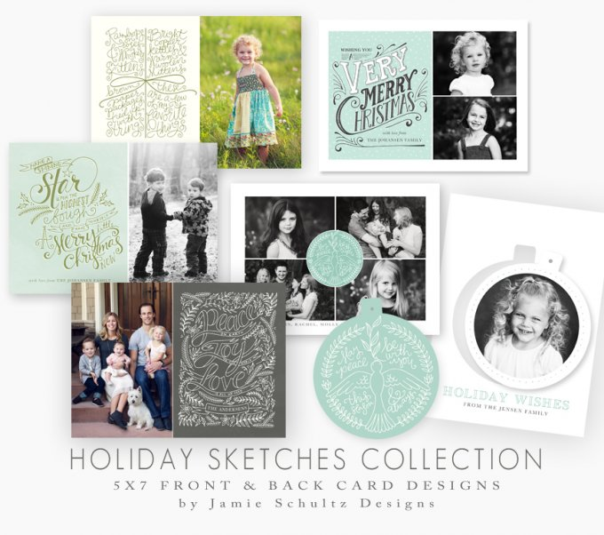 Hand Sketched Holiday Card Templates by Jamie Schultz Designs