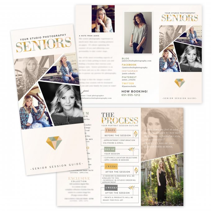 Geometric Senior Session Brochure Template by Jamie Schultz Designs